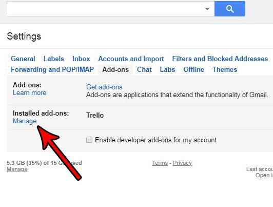 Mange установленные дополнения Gmail