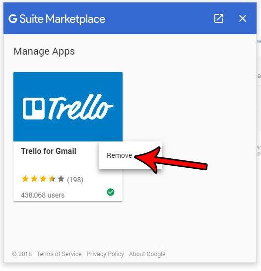 как удалить установленное дополнение Gmail на