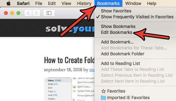 Как удалить избранное в Safari на Mac