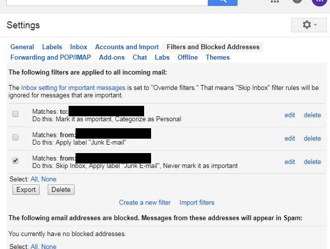 как удалить существующий почтовый фильтр Gmail
