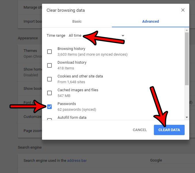 как удалить сохраненные пароли в Google Chrome