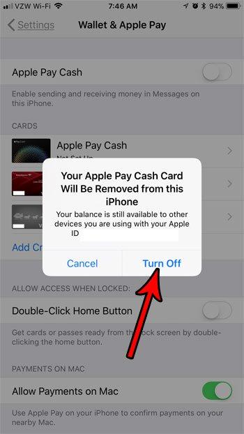 как отключить яблочную оплату наличными на iphone