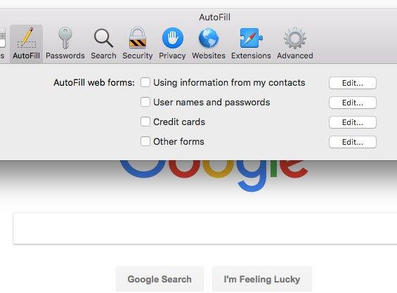 Как отключить автозаполнение в сафари на Mac