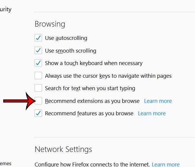 как отключить рекомендации по расширению браузера firefox