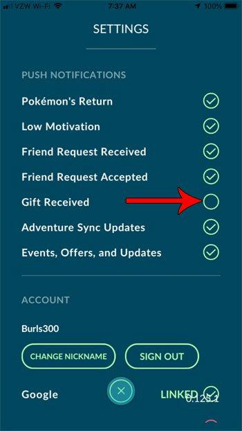 как отключить уведомления о подарках pokemon go