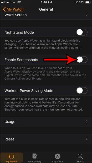 как отключить скриншоты на apple watch