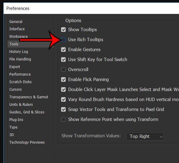 Как отключить учебник Photoshop при наведении курсора на панель инструментов