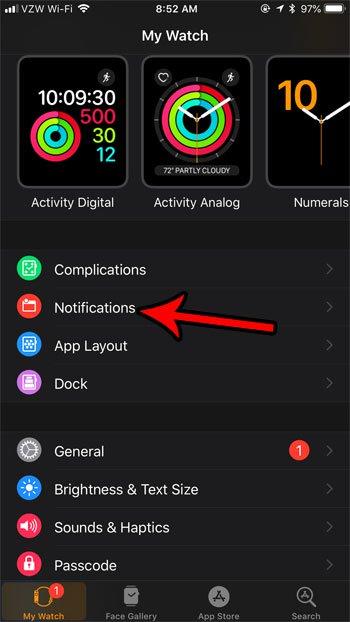 изменить настройки уведомлений Apple Watch