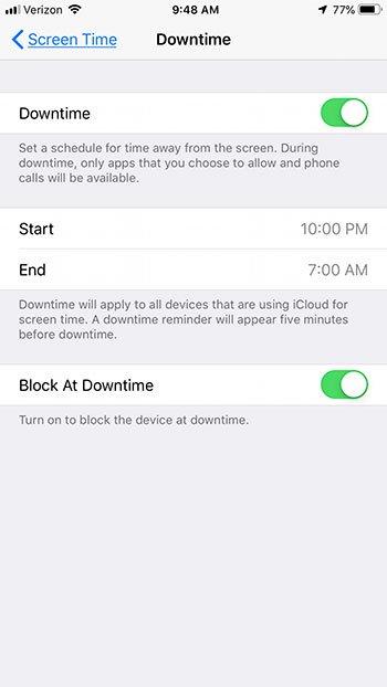 как включить время простоя на iphone 7