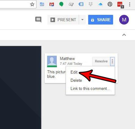 как изменить комментарий слайдов Google