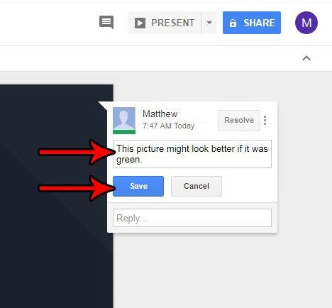 Как редактировать комментарий в Google Slides