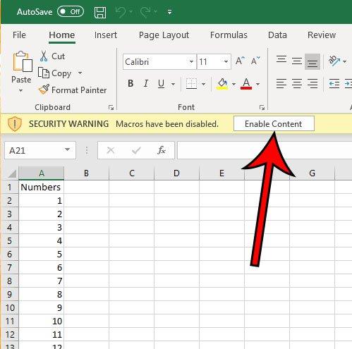 как включить макросы для запуска в листе Excel