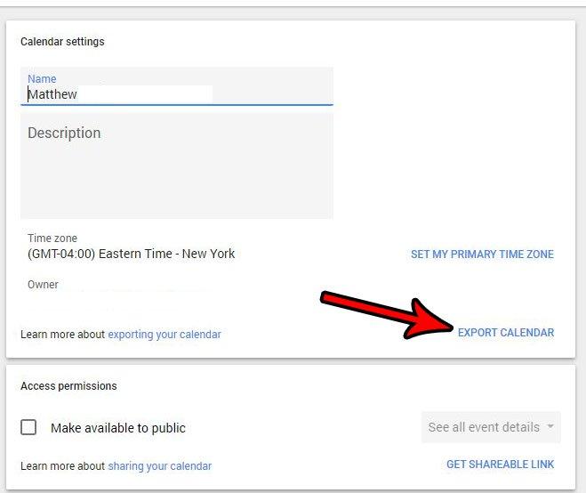 экспортировать файл календаря Google для Excel