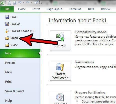 открыть файл в Excel