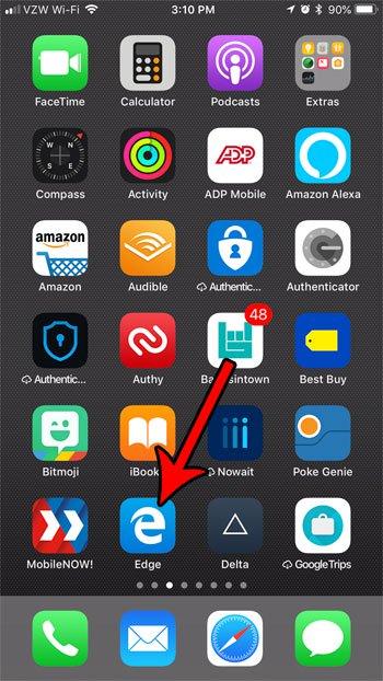 открыть приложение для Microsoft край iphone