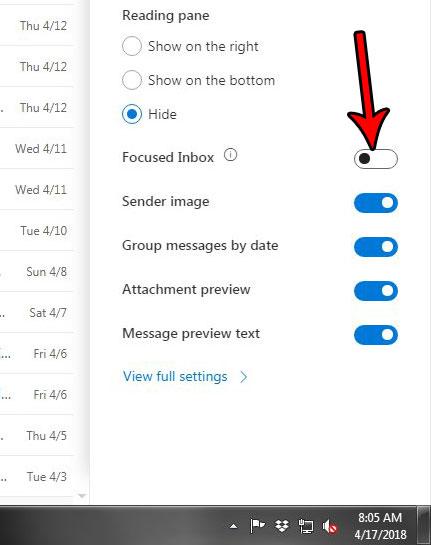 переключить фокусированный почтовый ящик в электронной почте outlook.com