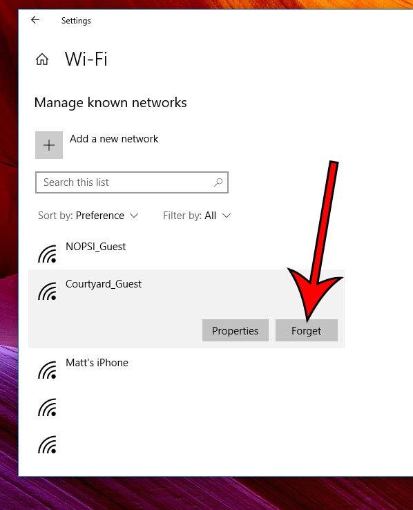 как забыть известную сеть в Windows 10