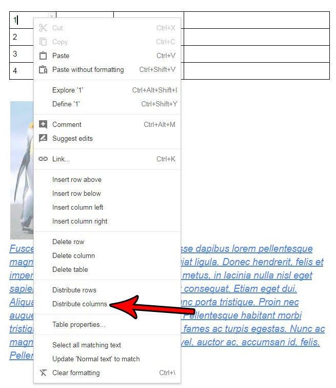 Как сделать столбцы одинаковой ширины Google Docs