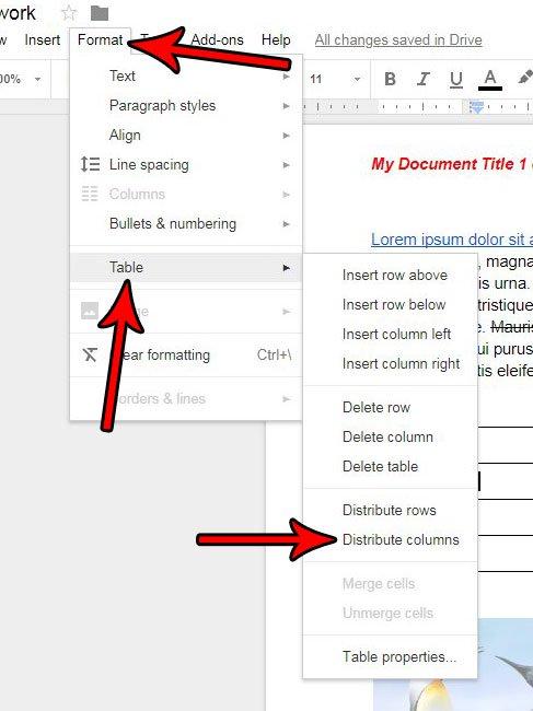 Как сделать столбцы одинакового размера Google Docs