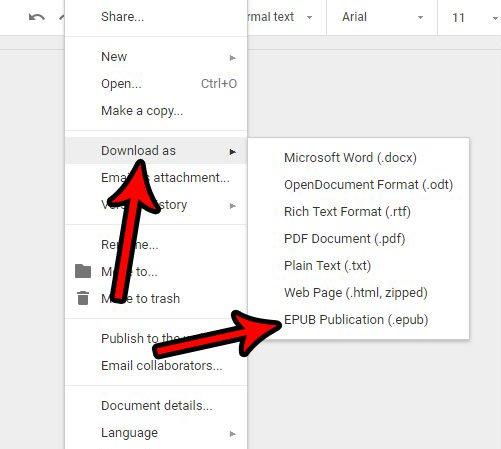 Как сохранить в формате EPUB файла из Google Docs