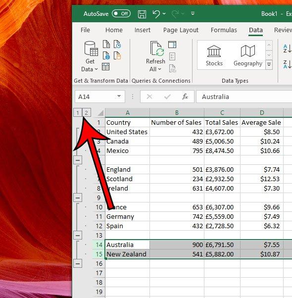 свернуть или развернуть все группировки в Excel