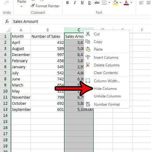 как скрыть колонку в Excel онлайн