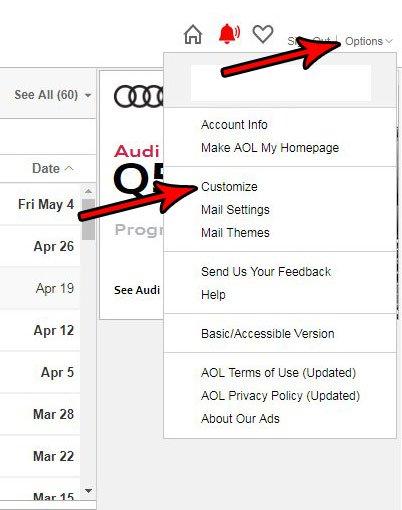 открыть меню настройки AOL