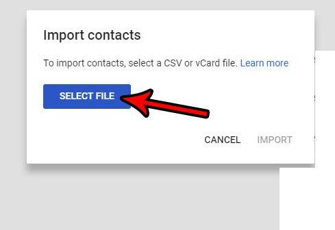 загрузить контакты в Gmail с помощью файла CSV