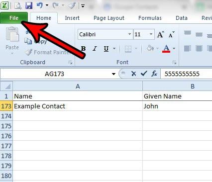 открыть меню файла Excel