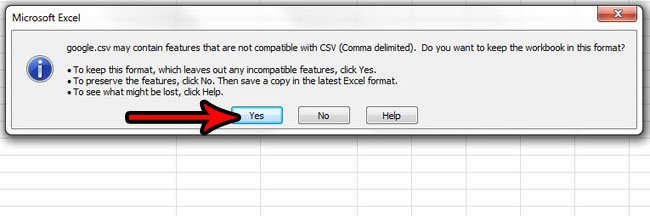подтвердить тип файла CSV