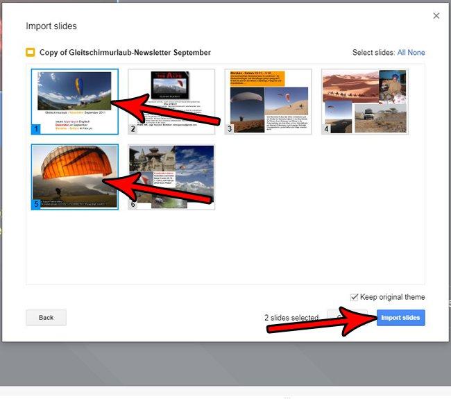 как импортировать слайды в слайды Google