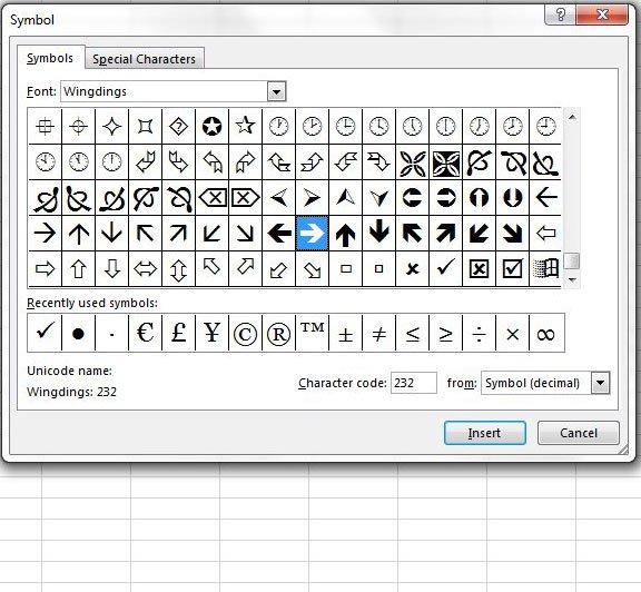 добавить стрелку в ячейку в Excel 2013