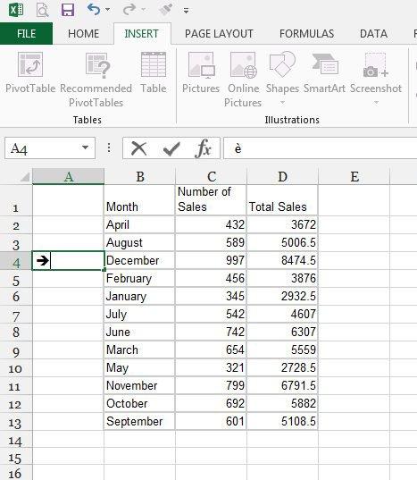 как вставить стрелку в Excel 2013