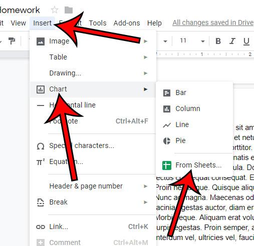 Как вставить диаграмму Google листов в Google Docs