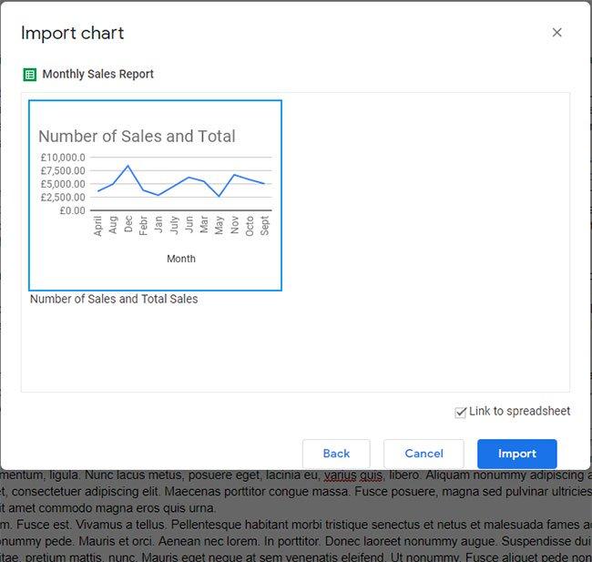 выберите диаграмму, затем нажмите импорт