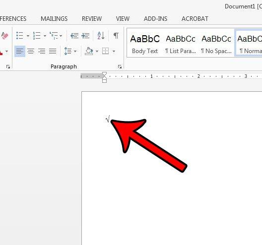 добавить квадратный корень в слово с помощью сочетания клавиш