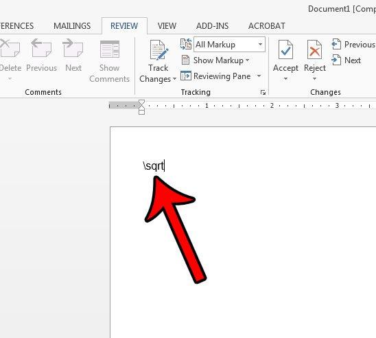 вставить символ квадратного корня в слово Microsoft с автозаменой