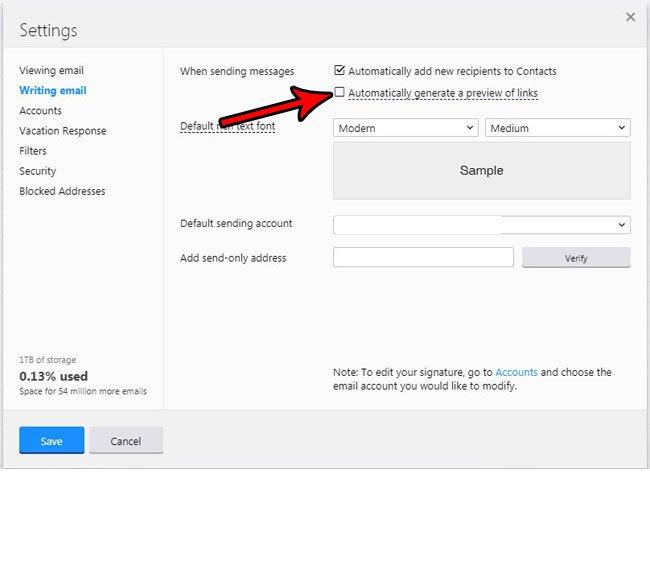 Как отключить ссылку предварительного просмотра Yahoo Mail