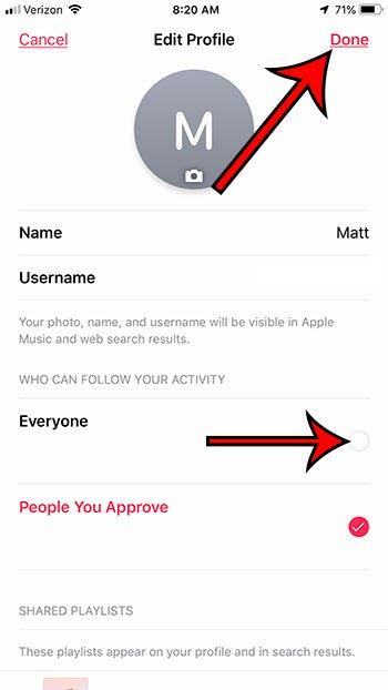 как переключить свой музыкальный профиль Apple с частного на публичный