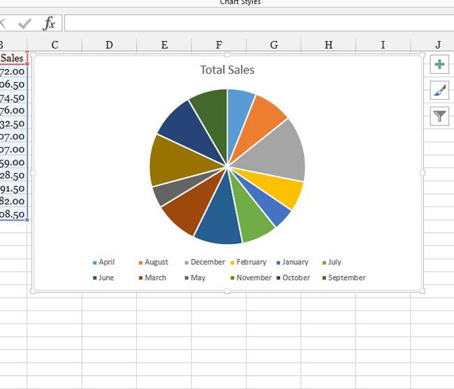 вставить круговую диаграмму в Excel 2013