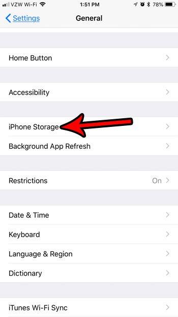 открыть меню памяти iphone