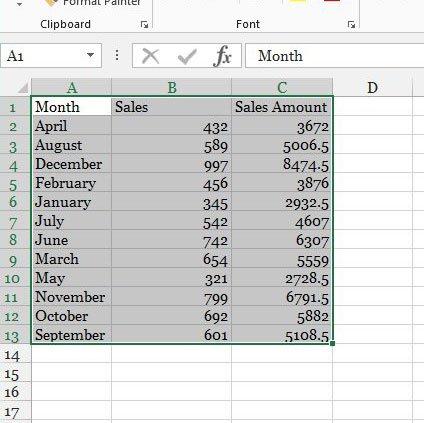 выберите диапазон данных с именами столбцов
