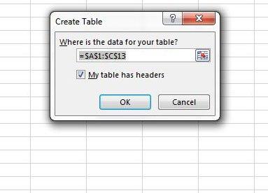 создать таблицу с именами столбцов в Excel