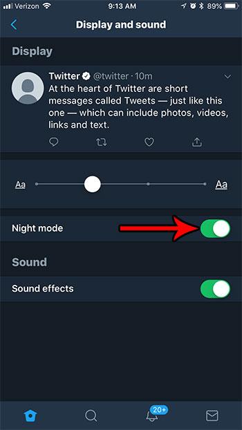 holw для включения ночного режима в твиттере на iphone