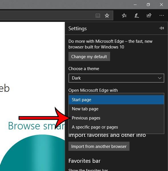 как открыть край Microsoft со страницами, которые были открыты при последнем закрытии