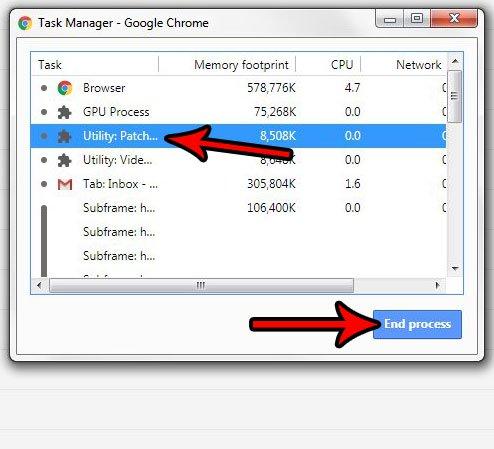 как завершить процесс в диспетчере задач Google Chrome