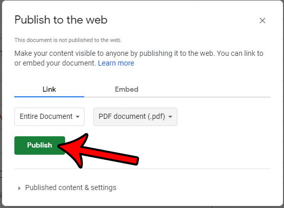 как опубликовать файл листов Google в формате PDF