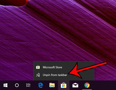открепить значок магазина Microsoft от панели задач Windows 10