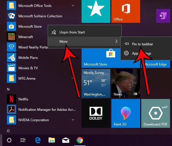 добавить значок магазина Microsoft на панель задач
