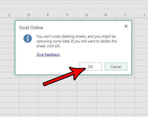 как удалить вкладку листа Excel онлайн